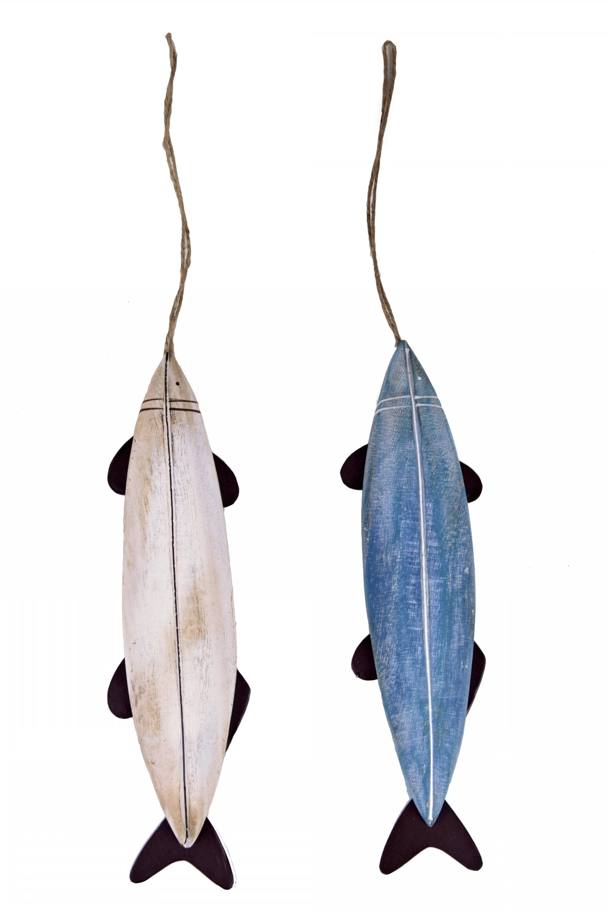 Dekorace ryba bílá a modrá 21x6x1cm Barva: bílá