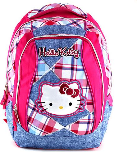 Školní batoh Hello Kitty jeans, motiv kostky