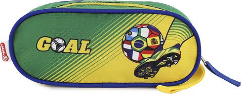 Školní penál Goal elipsovitý, zeleno-žlutý