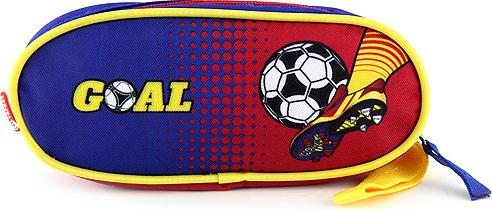 Školní penál Goal elipsovitý, modro-červený