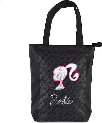 Nákupní taška Barbie černá se stříbrným motivem panenky Barbie