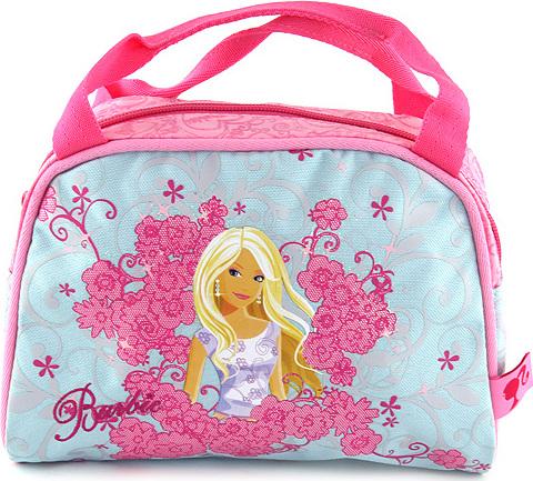 Kabelka Barbie světle modrá lemovaná růžovou, s motivem panenky Barbie