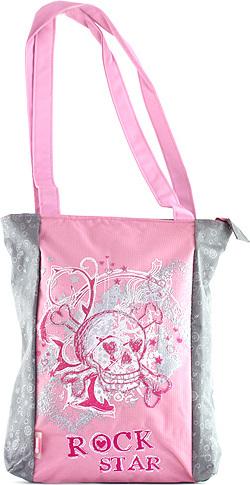 Nákupní taška Target šedá s růžovým motivem Rock Star