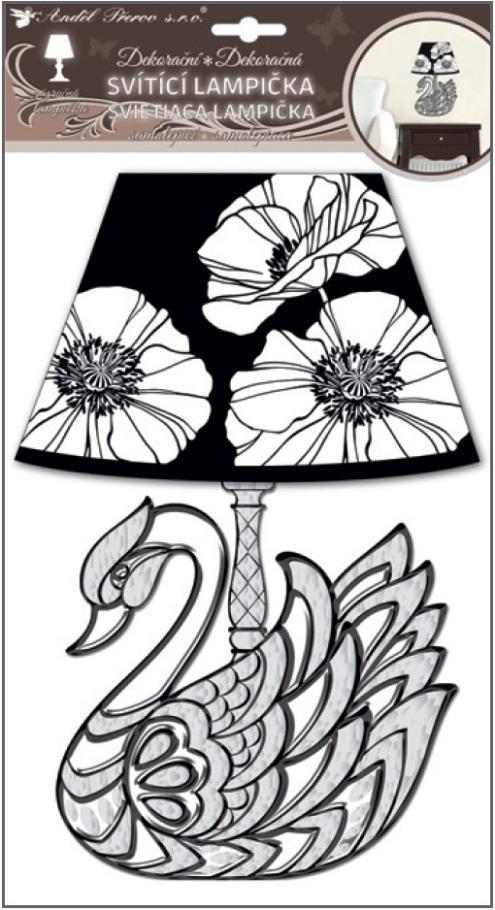 Lampička samolepicí svítící LED labuť 31cm