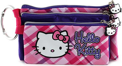 Školní penál trojitý Hello Kitty 3ks, růžovo/fialový, s motivem Hello Kitty