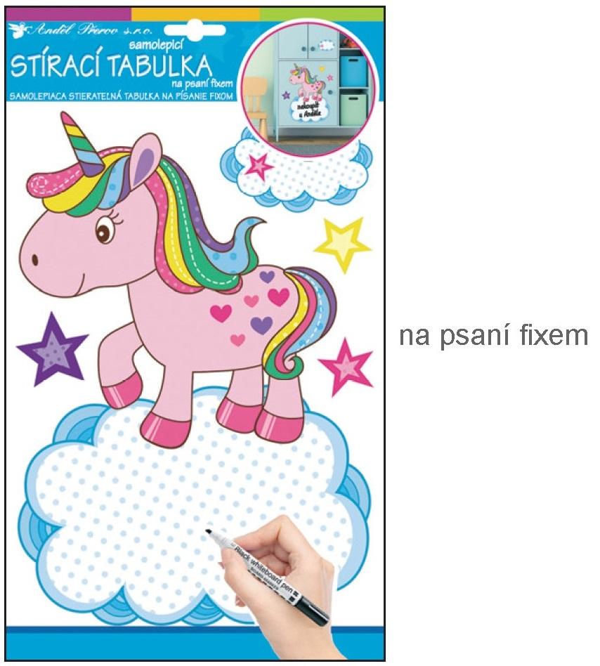 Anděl Přerov Samolepka tabulka na psaní fixem jednorožec 34x21cm