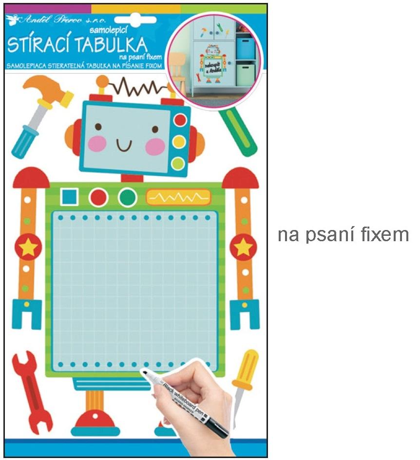 Anděl Přerov Samolepka tabulka na psaní fixem robot 34x21cm