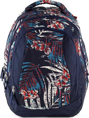 Školní batoh 2v1 Target Tmavě modrý, barevné květy a listy