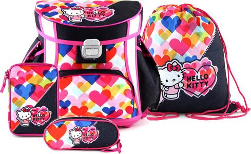 Školní set   4-dílný   Hello Kitty   barevná srdce