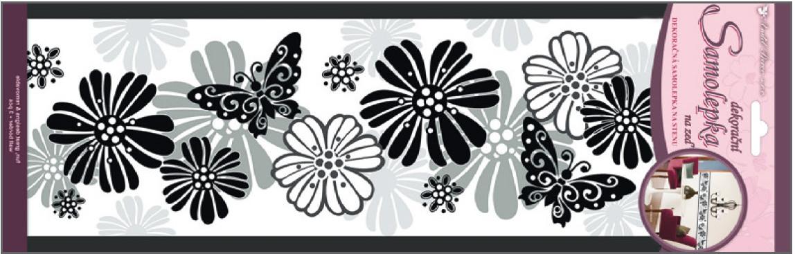 AP Samolepky na zeď motýli a květinami 3pruhy 47x16cm