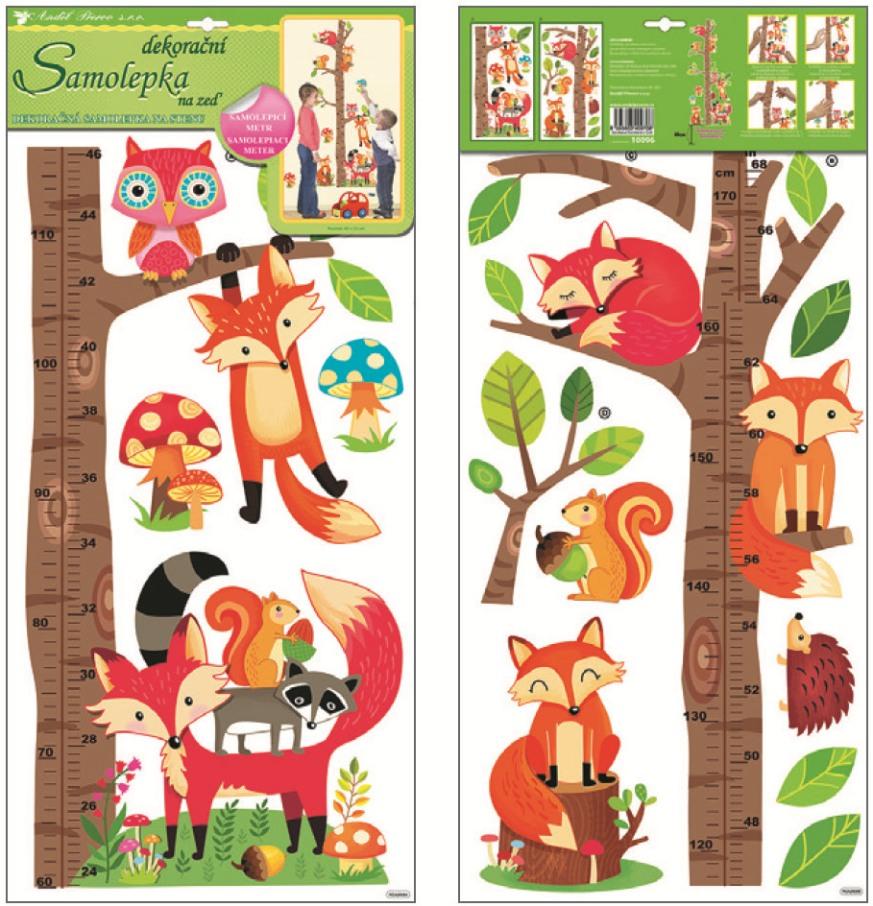 AP Samolepky na zeď dětský metr strom s lesními zvířátky 70x33cm