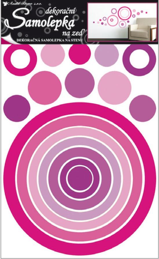 Samolepka na zeď kruh růžový 70x42cm
