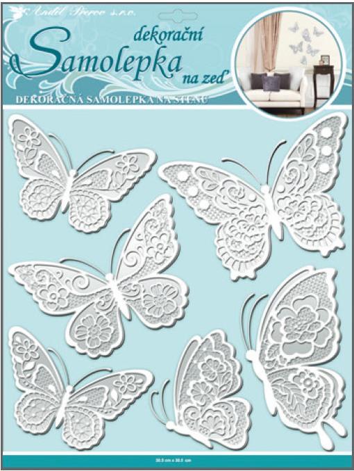 Anděl Přerov Samolepka na zeď motýli s bílými krajkovými křídly 40x31cm