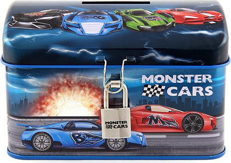 Pokladnička | Plechová | Monster Cars | se zámkem