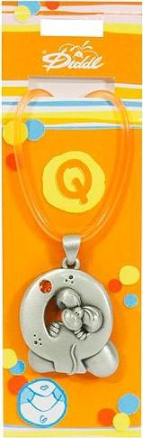 Náhrdelník   Diddl & Friends   s kamínkem   abeceda   Q