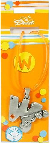 Náhrdelník   Diddl & Friends   s kamínkem   abeceda   W