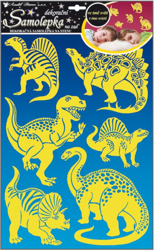 Samolepka na zeď dinosauři svítící ve tmě 47x29cm