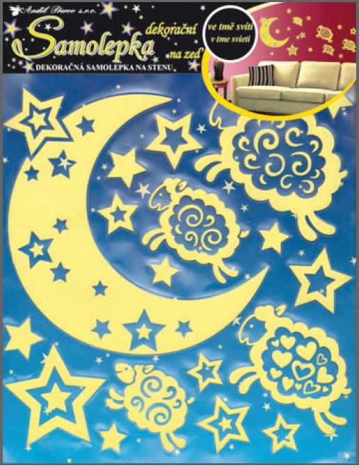 Anděl Přerov Samolepky na zeď měsíc s ovečkami svítící ve tmě 31x29cm
