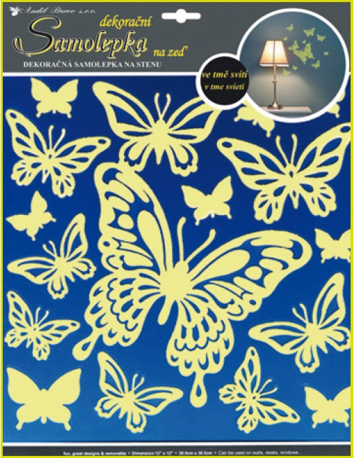 Anděl Přerov Samolepky na zeď motýli svítící ve tmě 31x29cm