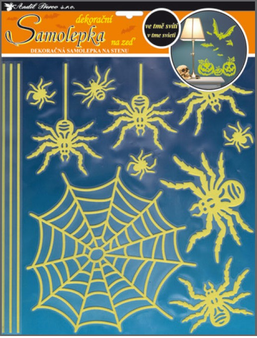 AP Samolepky na zeď pavouci svítící ve tmě 38x30cm