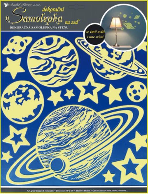 AP Samolepky na zeď planety svítící ve tmě 31x29cm