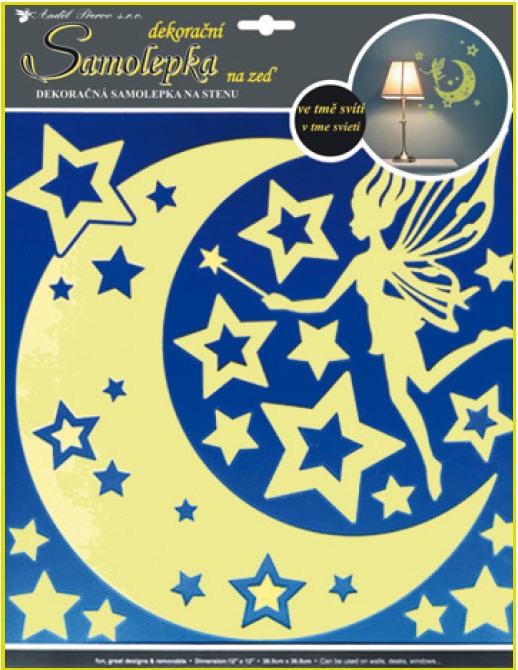 Anděl Přerov Samolepky na zeď víla s hvězdičkami svítící ve tmě 31x29cm