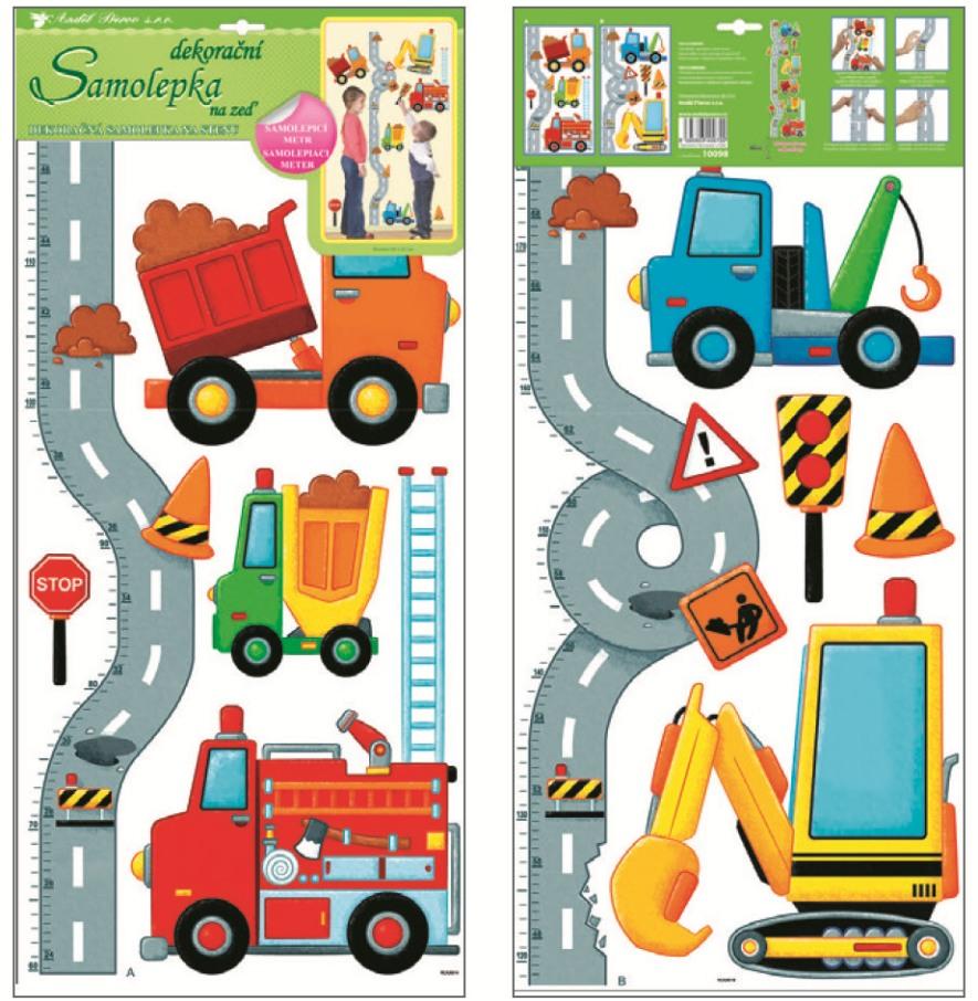 Samolepky na zeď dětský metr silnice s auty 70x33cm