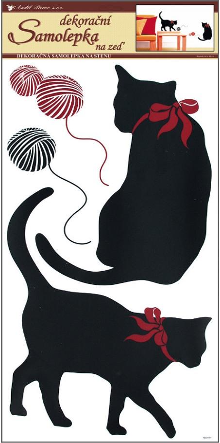 Samolepky na zeď kočky černé 69x32cm