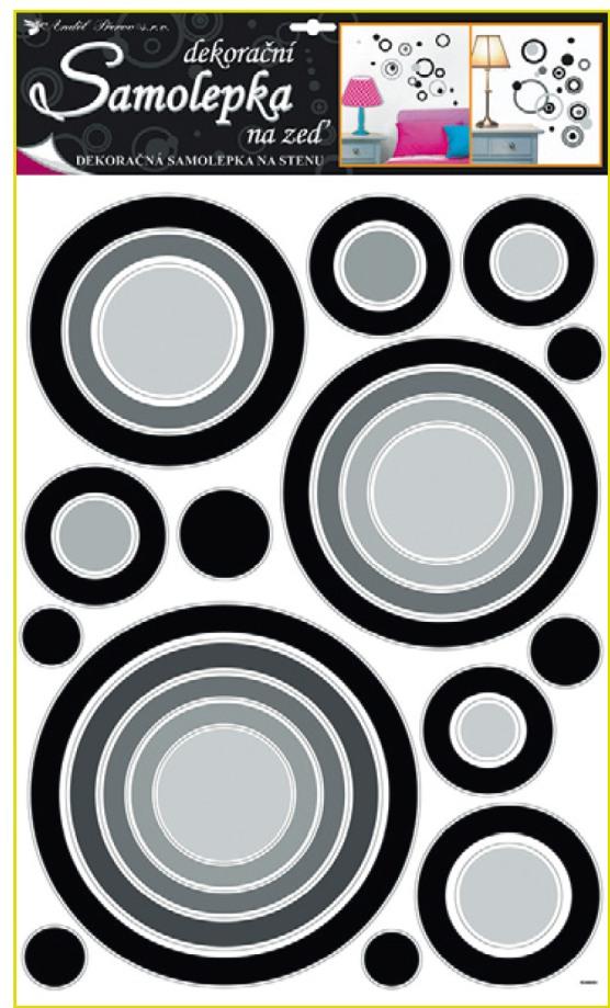 Anděl Přerov Samolepky na zeď kruhy černé 70x42cm