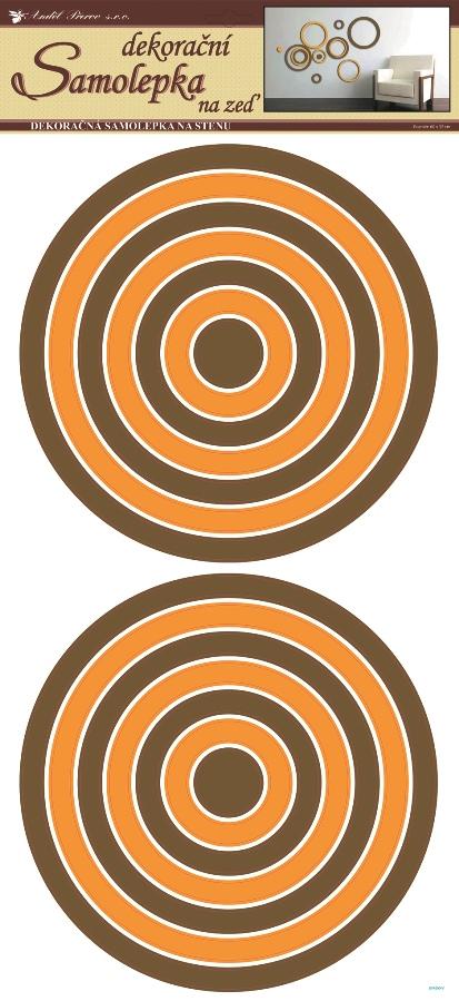 AP Samolepky na zeď kruhy oranžovohnědé 69x32 cm