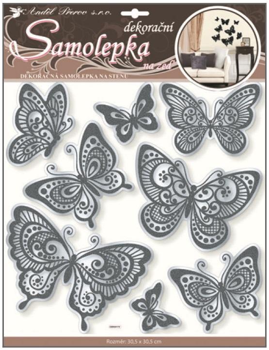 AP Samolepky na zeď motýli s černou glitrovou konturou zrcadlové 40x31cm