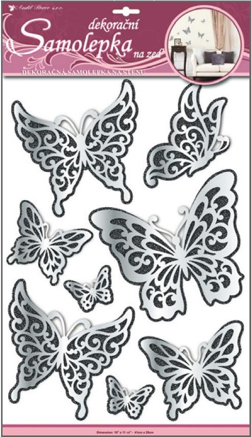 AP Samolepky na zeď motýli s černým glitrem zrcadlové 50x30cm
