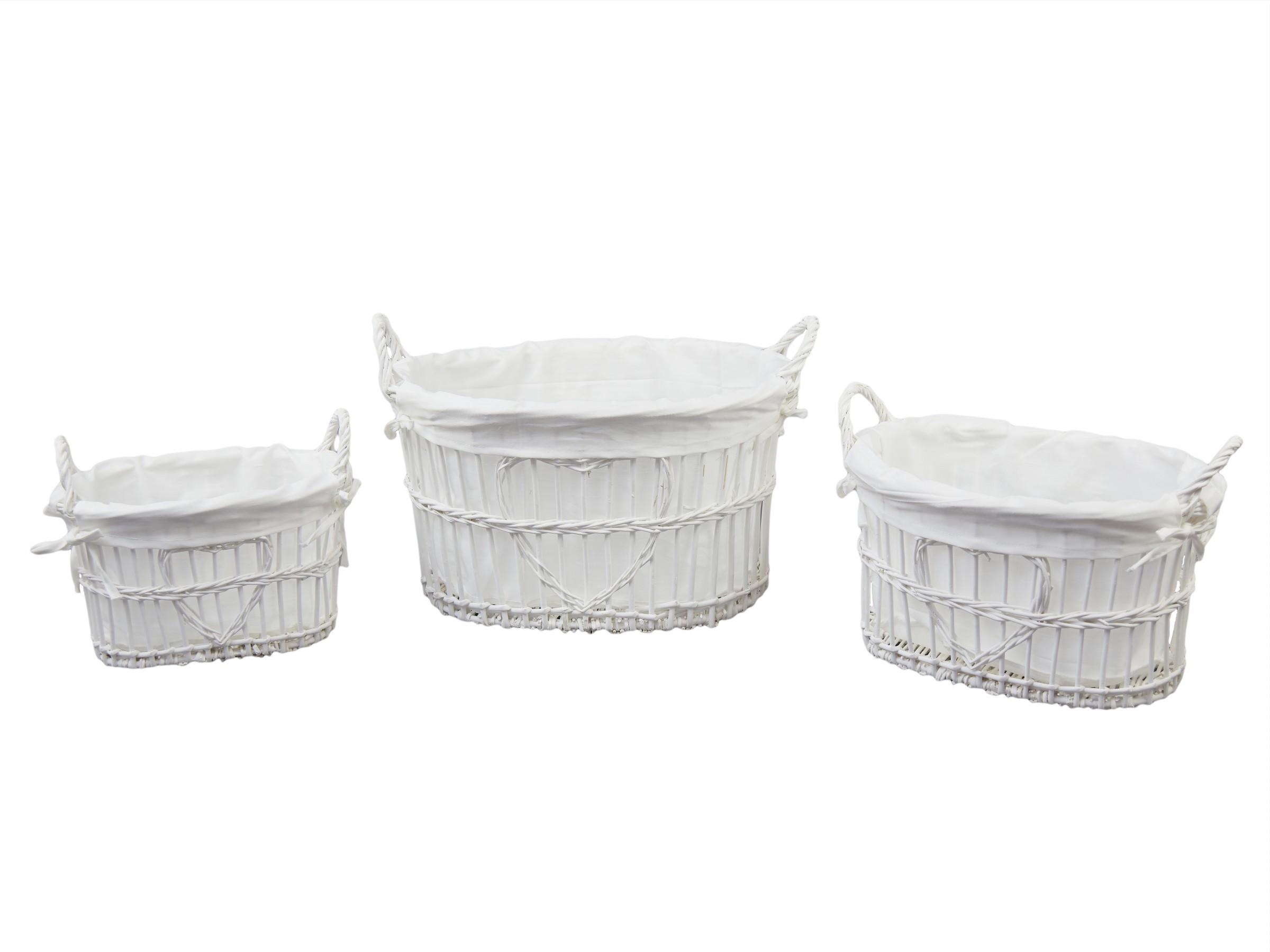 Proutěné koše bílé set 3ks Tvar: oválný