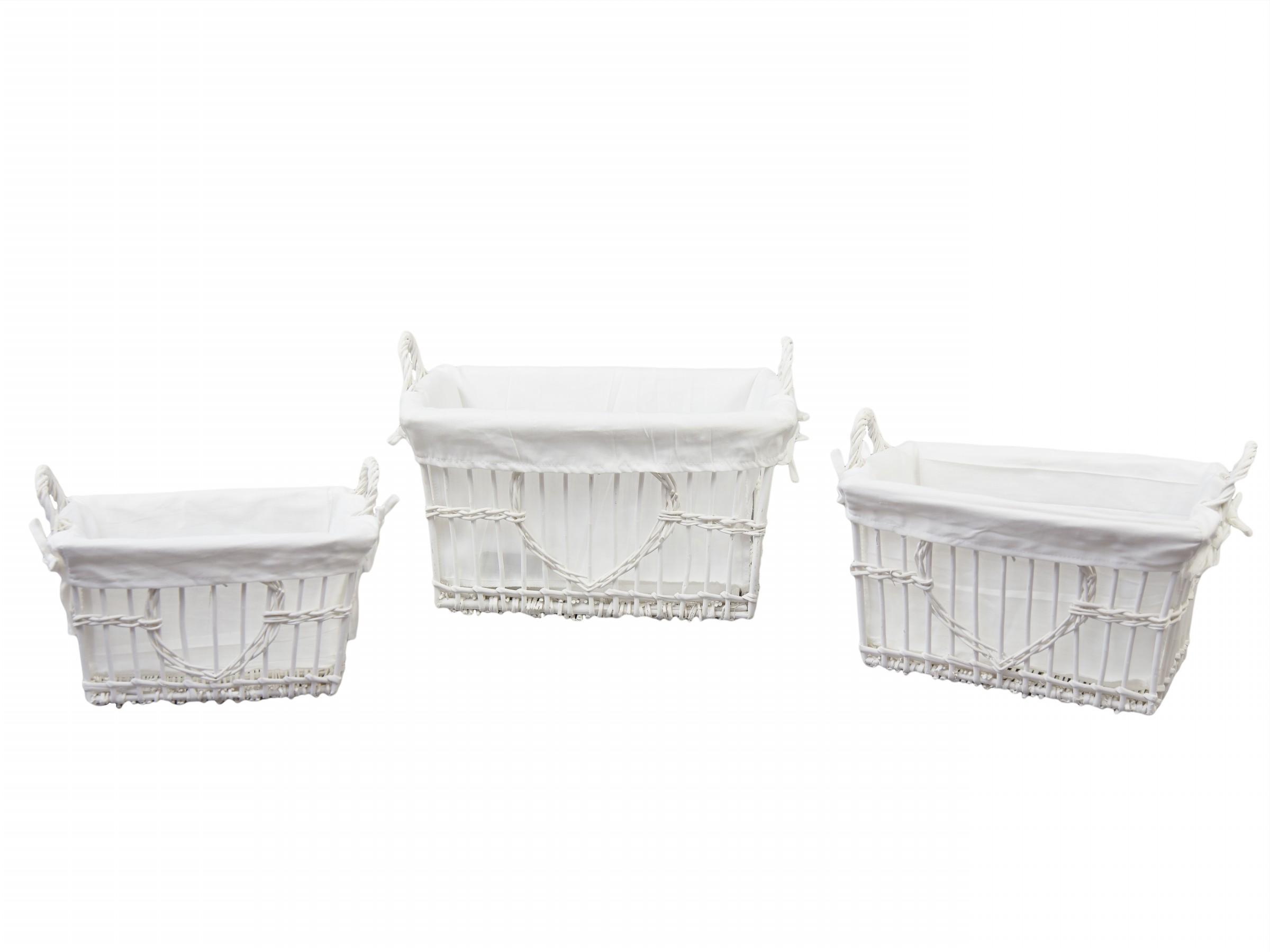 Proutěné koše bílé set 3ks Tvar: hranatý