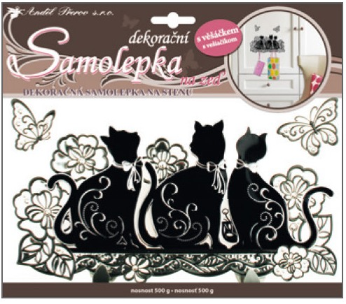Samolepky na zeď černé kočky s konturou věšáček 25x21cm