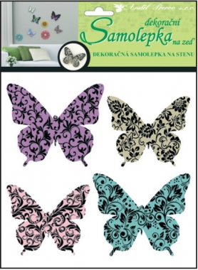 Samolepky na zeď motýli s ornamenty 3D 30x22x1cm