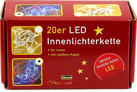 Světelný řetěz Idena vnitřní, LED, barevný, 3,40m