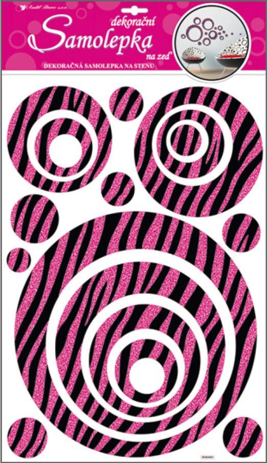 Anděl Přerov Samolepky na zeď kruhy s růžovými glitrovými pruhy 60x32cm