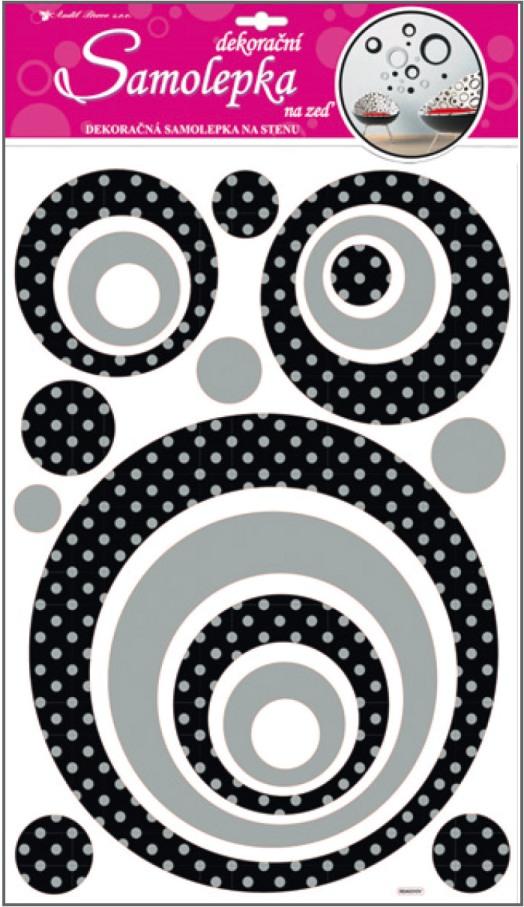 AP Samolepky na zeď kruhy se stříbrnými glitrovými puntíky 60x32cm