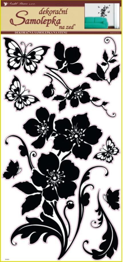 Anděl Přerov Samolepky na zeď květina s motýly černá 69x30cm