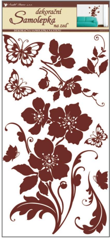 Samolepky na zeď květiny s motýly hnědí 69x32cm