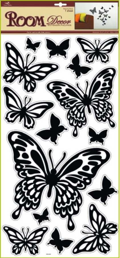 AP Samolepky na zeď motýli černí 69x30cm