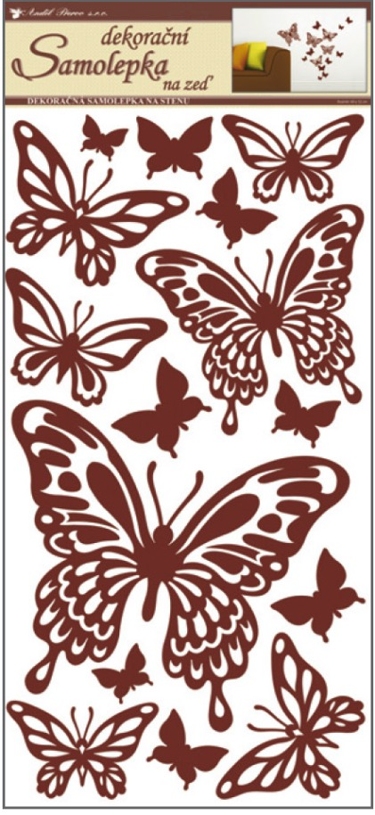 AP Samolepky na zeď motýli hnědí 69x32cm