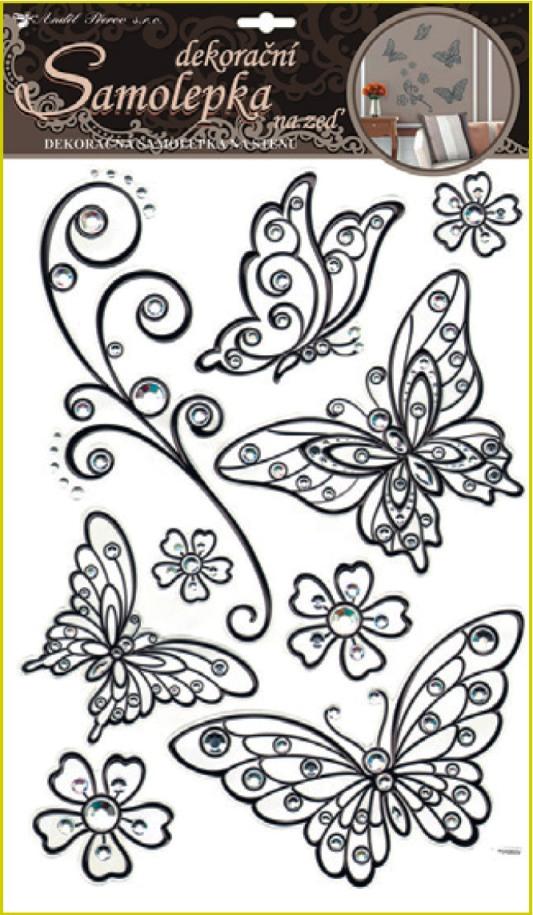 AP Samolepky na zeď motýli s černou konturou a kamínky plastická 49x29cm