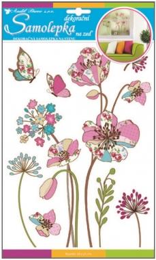 Anděl Přerov Samolepky na zeď barevné vzorované květy s glitry 35x22cm