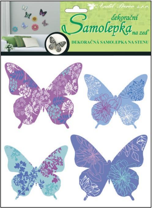 Samolepky na zeď motýli modrofialoví 3D 30x22x1cm