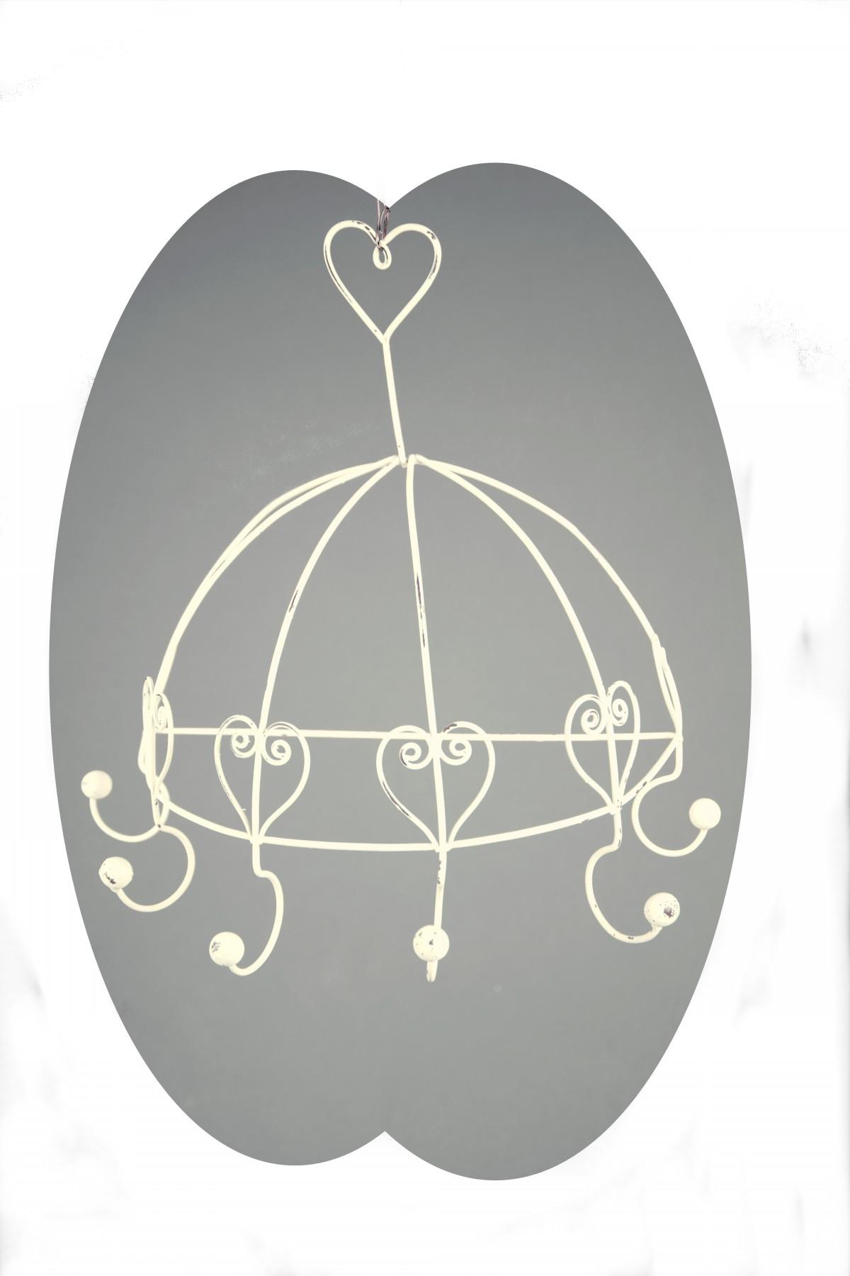 Věšák na zeď půlkruh srdce 6 háčků bílý 32,5x31,5x15,5cm