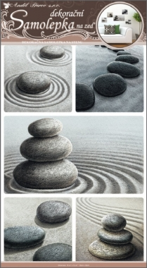 Samolepky na zeď kameny v písku 60x32cm