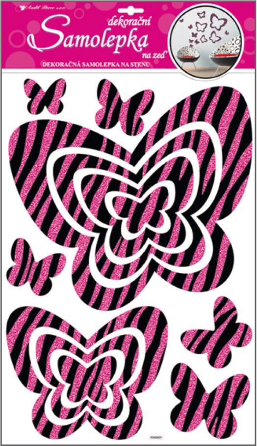 AP Samolepky na zeď motýli s růžovými glitrovými pruhy 60x32cm