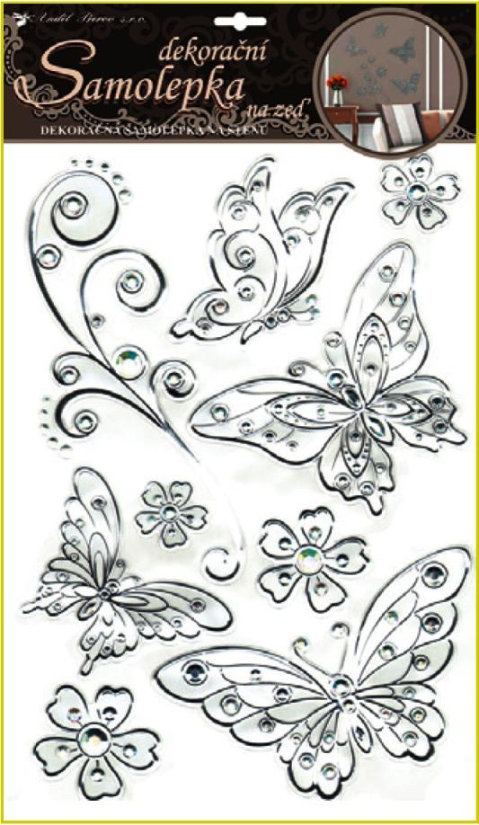 AP Samolepky na zeď motýli se stříbrnou konturou a kamínky plastická 49x29cm
